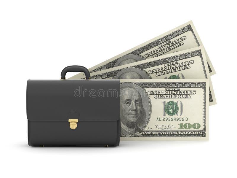 Zwarte bedrijfsaktentas en dollarrekeningen vector illustratie