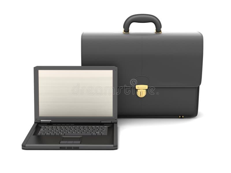 Zwarte bedrijfsaktentas en laptop royalty-vrije illustratie