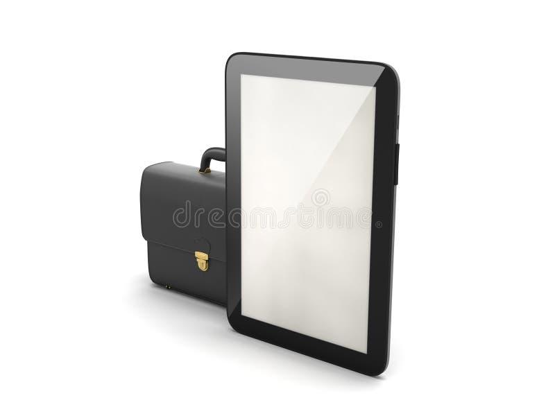 Zwarte bedrijfsaktentas en moderne tabletcomputer vector illustratie