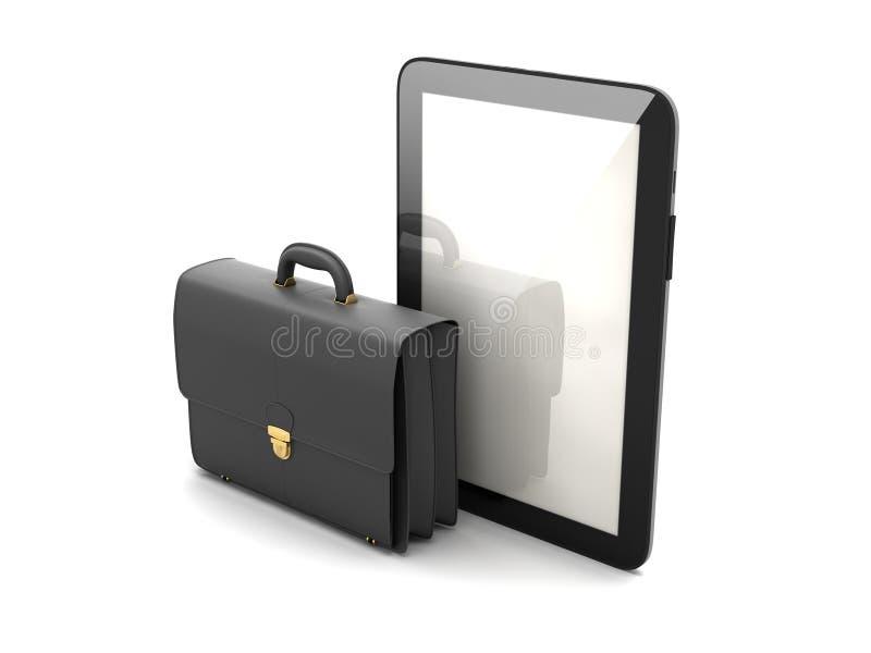 Zwarte bedrijfsaktentas en moderne tabletcomputer stock illustratie