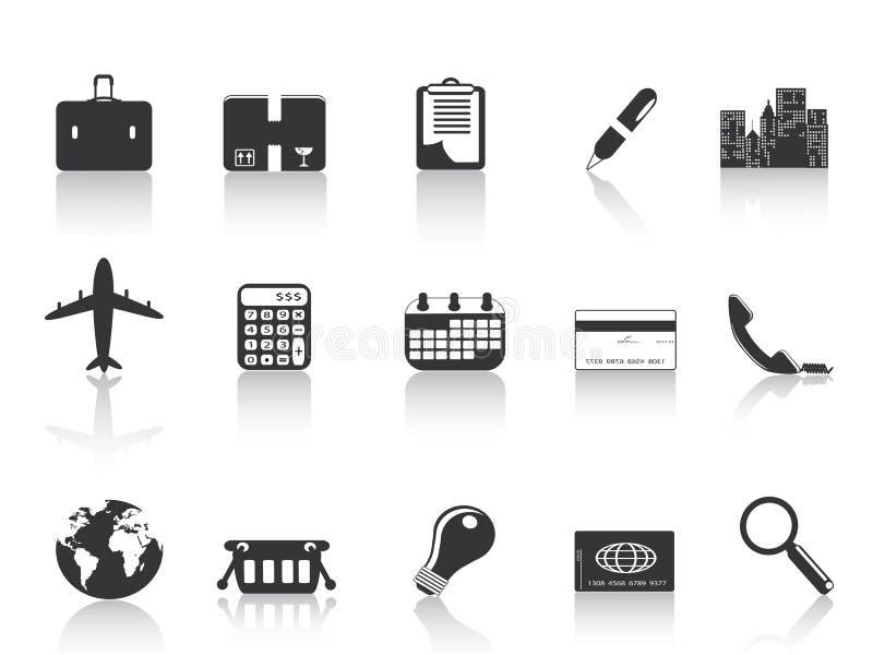 Zwarte bedrijfspictogrammen stock illustratie