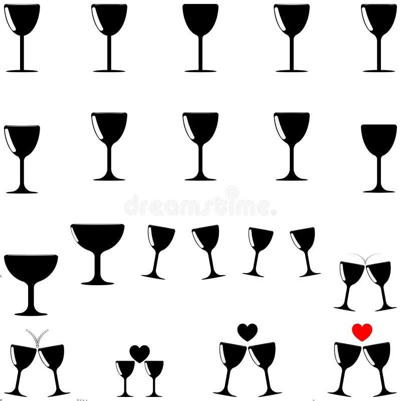 Zwarte beker - vastgestelde pictogrammen royalty-vrije illustratie