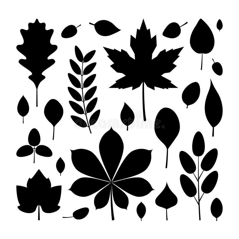 Zwarte bladeren in vlakke stijl, geplaatste pictogrammen royalty-vrije illustratie