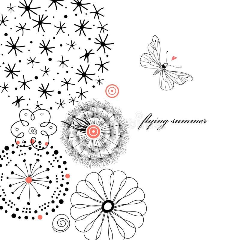Zwarte bloemen met een grafische vlinder vector illustratie