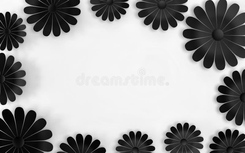 Zwarte bloemen op witte achtergrond - bloemenontwerpelementen 3d geef terug stock illustratie