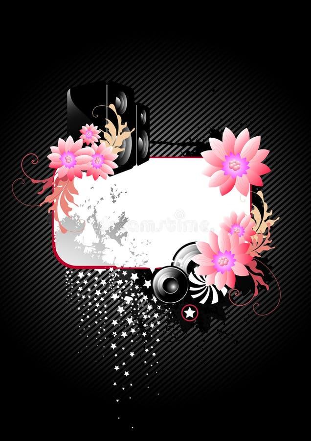 Zwarte Bloemenachtergrond vector illustratie