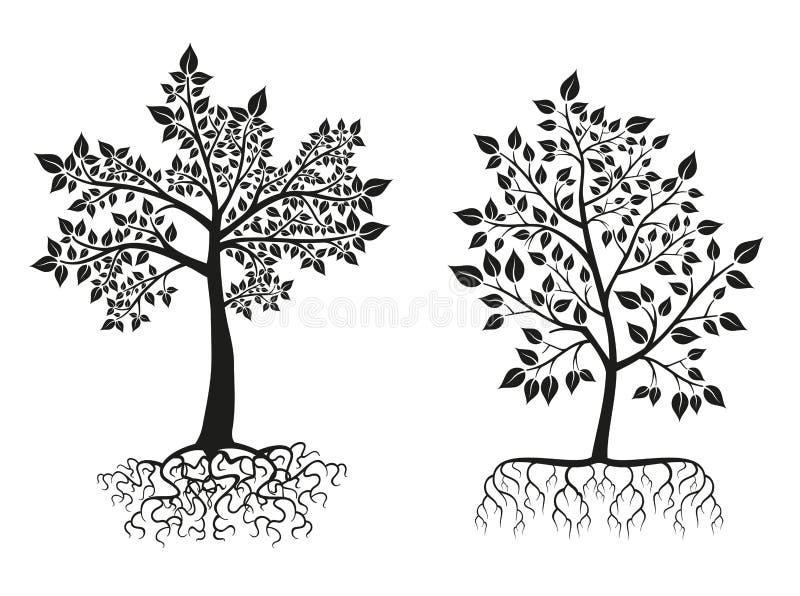 Zwarte bomen en wortelssilhouetten met bladeren Beeldverhaal polair met harten royalty-vrije illustratie