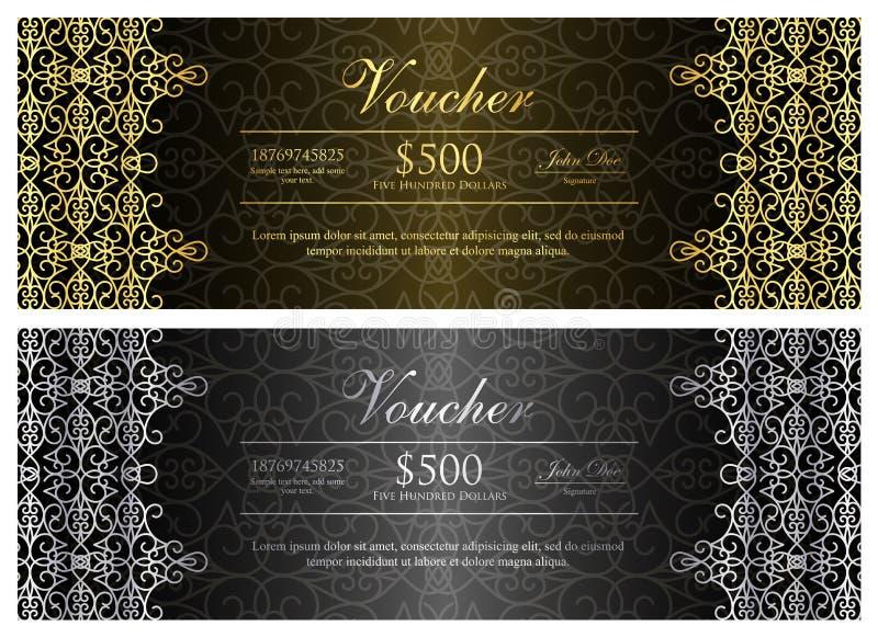 Zwarte bon met gouden en zilveren sierpatt vector illustratie