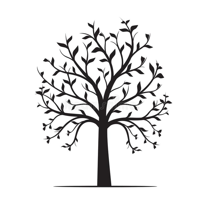 Zwarte Boom met bladeren op witte achtergrond Vector illustratie stock illustratie