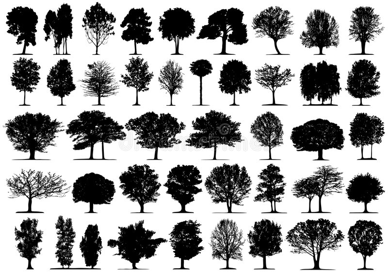 Zwarte boomsilhouetten royalty-vrije illustratie