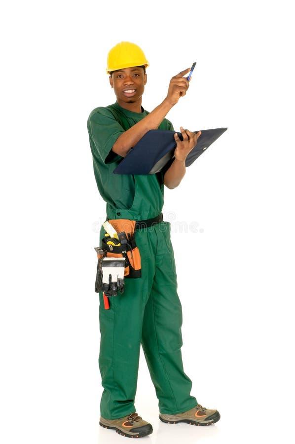 Zwarte bouwvakker stock afbeelding