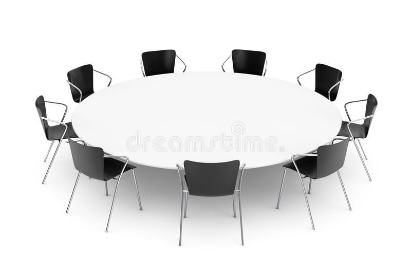 Zwarte Bureaustoelen en Conferentierondetafel royalty-vrije illustratie
