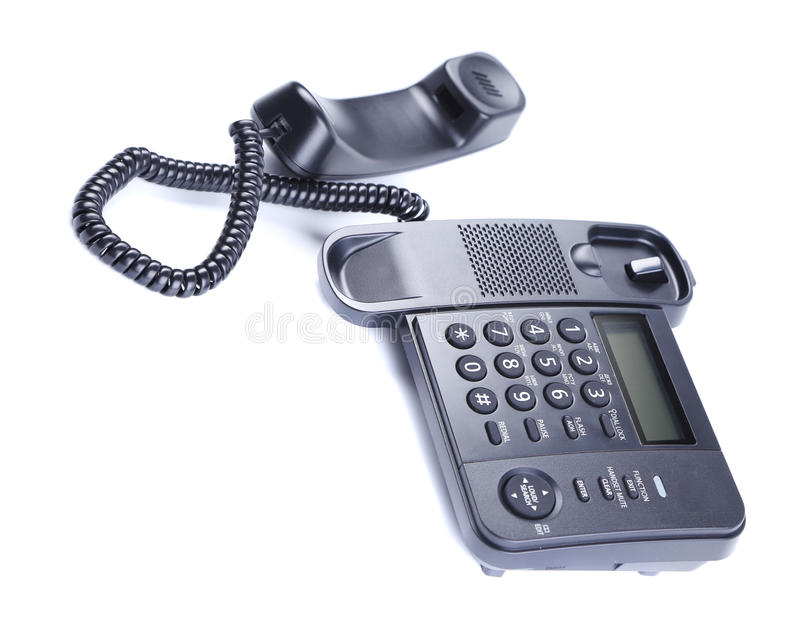 Zwarte Bureautelefoon. stock fotografie