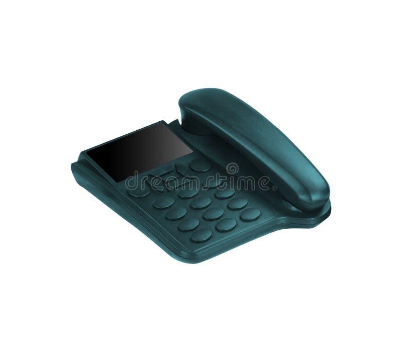 Zwarte bureautelefoon die op wit wordt geïsoleerde stock foto