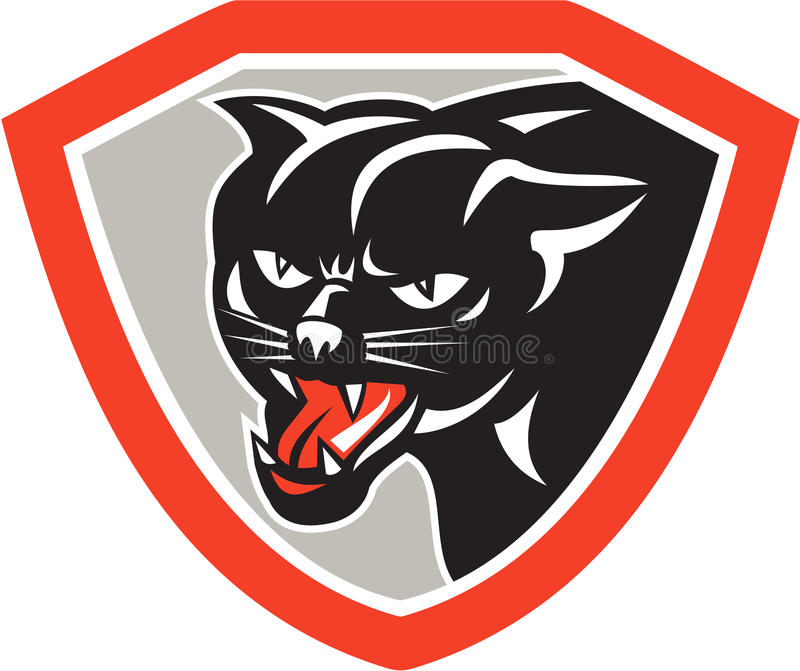 Zwarte Cat Panther Head Shield royalty-vrije illustratie