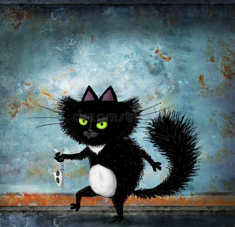 Zwarte Cat Slinking With Fish Skeleton royalty-vrije stock foto's