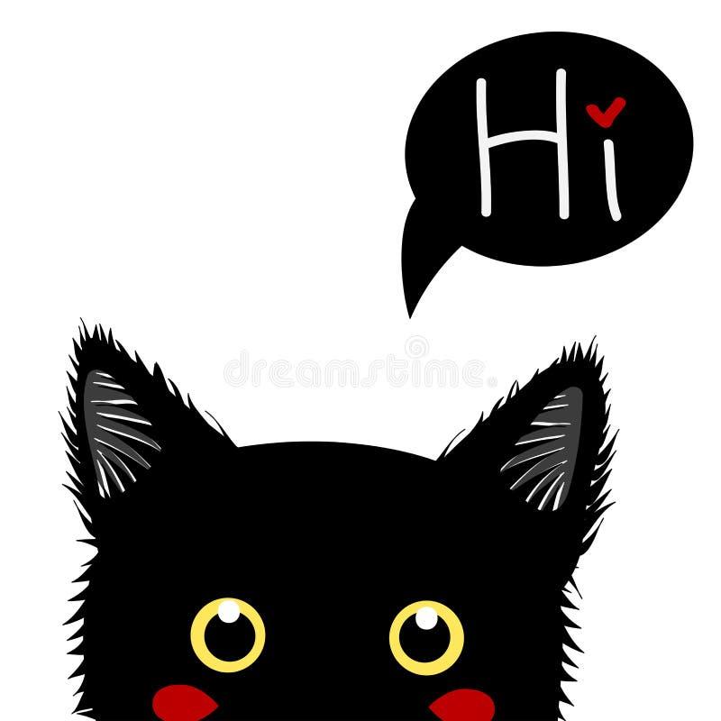 Zwarte Cat Sneaking De Dag van Halloween van de groetkaart Vector illustratie royalty-vrije illustratie
