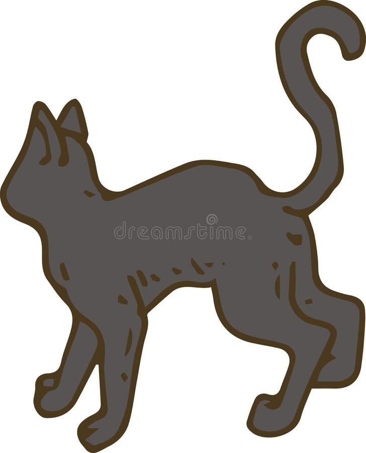 Zwarte Cat Turned His Back royalty-vrije illustratie