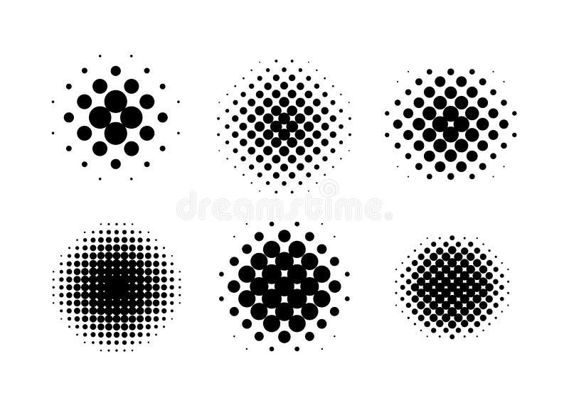 Zwarte Cirkel Halftone Reeks, Vectorillustratie royalty-vrije illustratie
