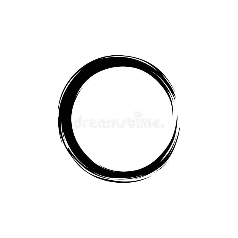 Zwarte Cirkel Zen, Enzo Vector Illustration stock illustratie