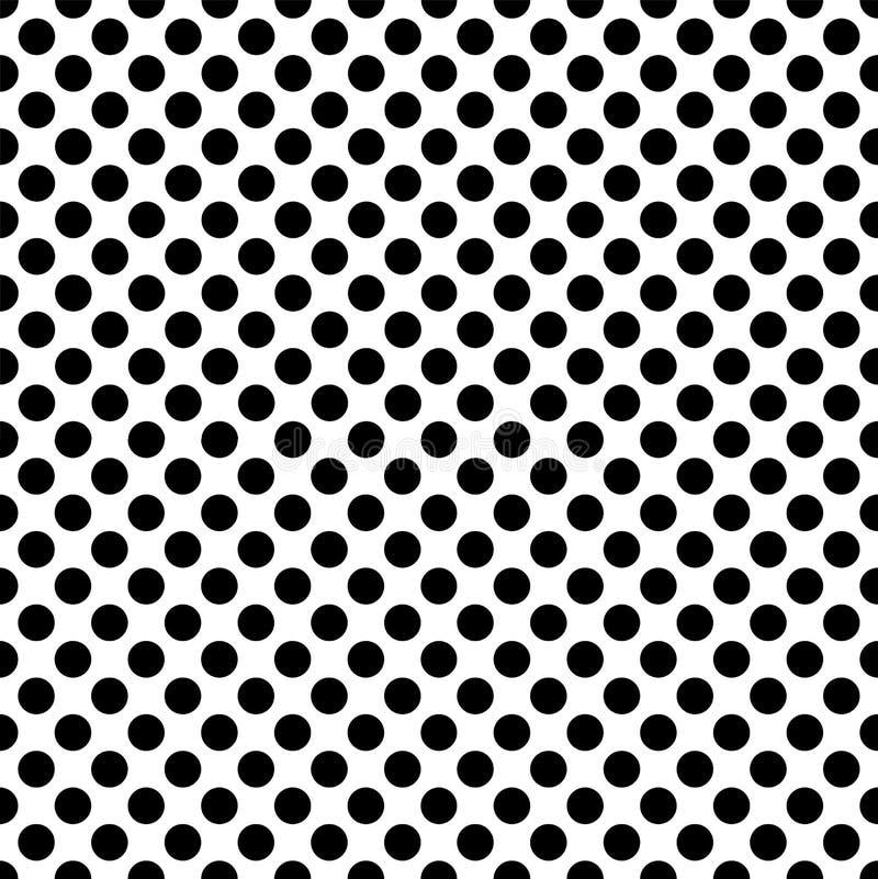Zwarte cirkels op een wit naadloos patroon als achtergrond royalty-vrije illustratie