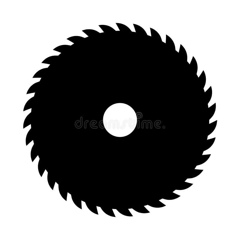 Zwarte cirkelzaag Vectorteken of pictogram Symbool van zaagmolen stock illustratie