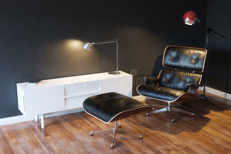 Zwarte Comfortabele Leerleunstoel in Moderne Binnenlandse 3d Versie stock foto
