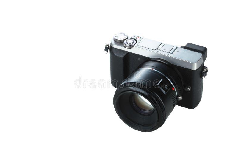 Zwarte compacte camera die met witte achtergrond wordt geïsoleerd royalty-vrije stock afbeelding