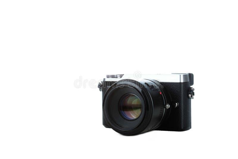 Zwarte compacte camera die met witte achtergrond wordt geïsoleerd royalty-vrije stock foto