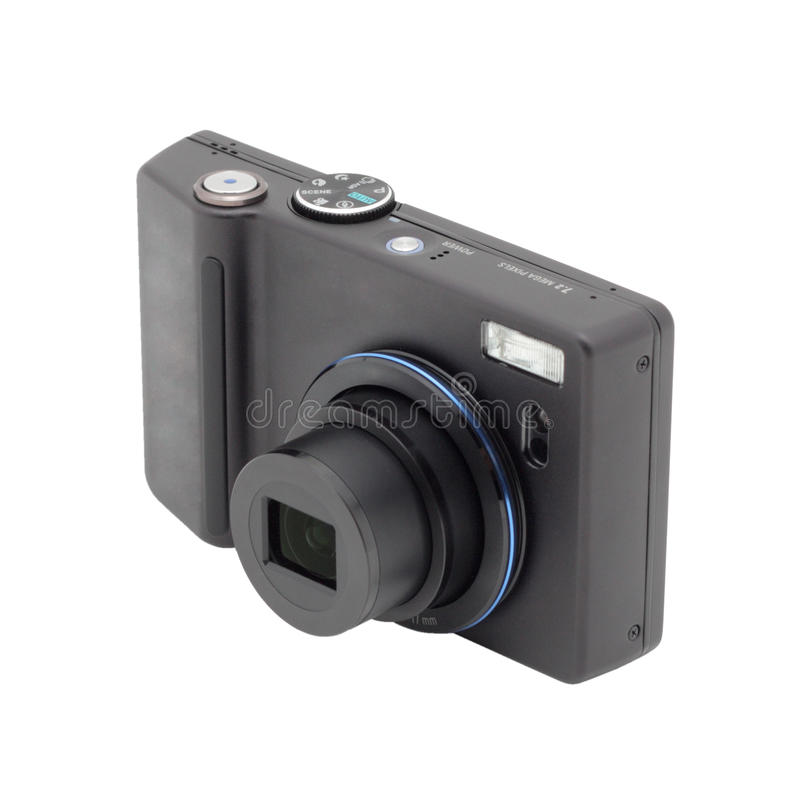 Zwarte compacte digitale camera. royalty-vrije stock foto