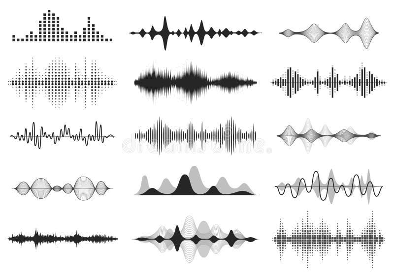 Zwarte correcte golven Muziek audiofrequentie, de golfvorm van de stemlijn, elektronisch radiosignaal, het symbool van het volume stock illustratie