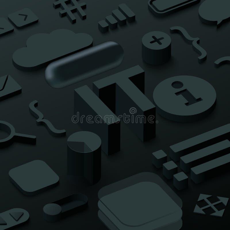 Zwarte 3d IT achtergrond met Websymbolen vector illustratie