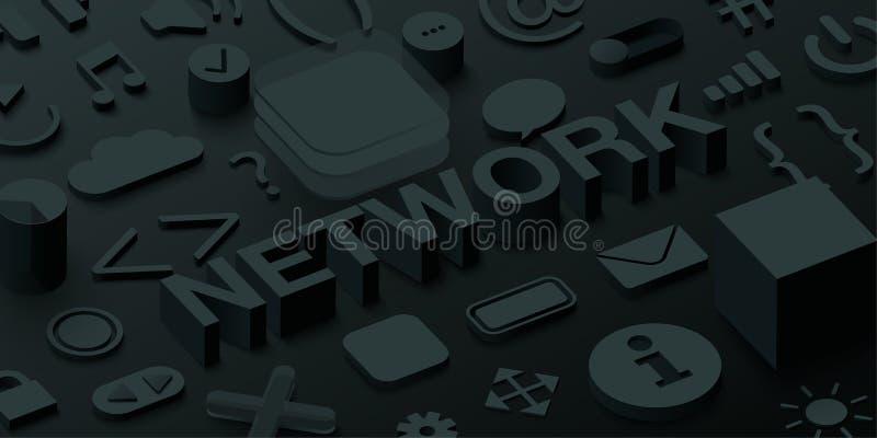 Zwarte 3d netwerkachtergrond met de symbolen van het uiweb stock illustratie