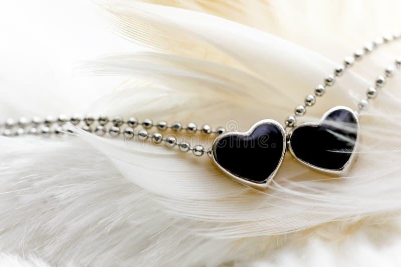 Zwarte de diamanthalsband van de hartvorm op veer royalty-vrije stock foto's