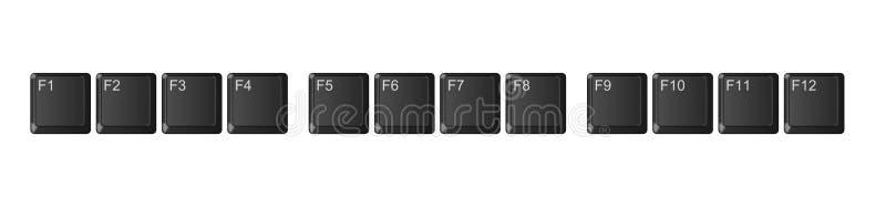 Zwarte de functiesleutels van het computertoetsenbord, royalty-vrije illustratie