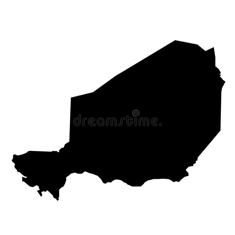 Zwarte de grenzenkaart van het silhouetland van Niger op witte backgroun vector illustratie