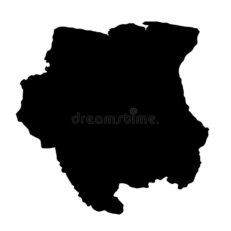 Zwarte de grenzenkaart van het silhouetland van Suriname op witte backgr royalty-vrije illustratie