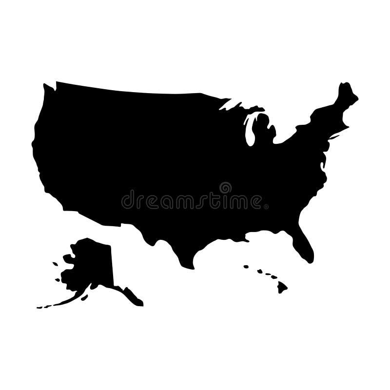 Zwarte de grenzenkaart van het silhouetland van de Verenigde Staten van Amerika vector illustratie