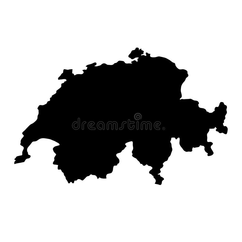 Zwarte de grenzenkaart van het silhouetland van Zwitserland op witte bac stock illustratie