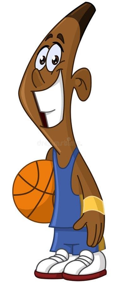 Zwarte de holdingsbal van de basketbalspeler royalty-vrije illustratie