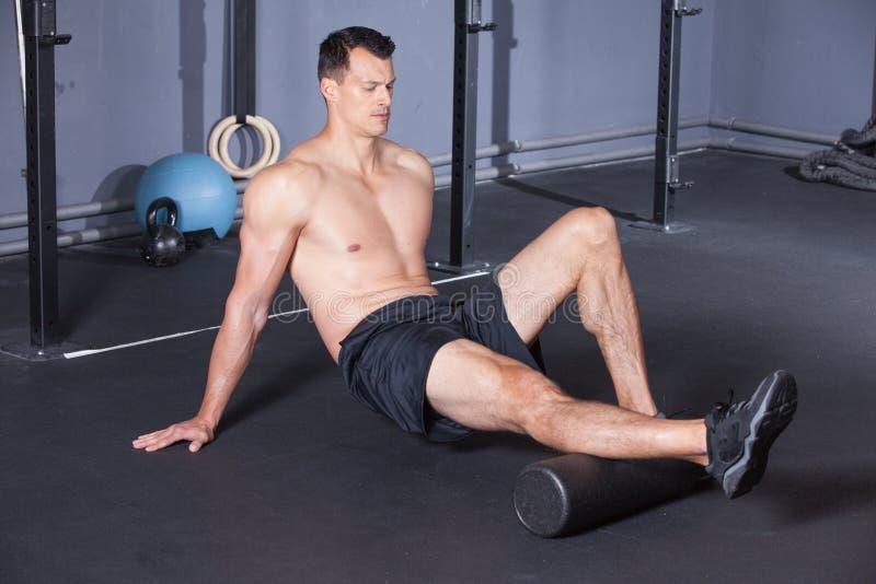 Zwarte de sportoefening van het massagebroodje stock foto's