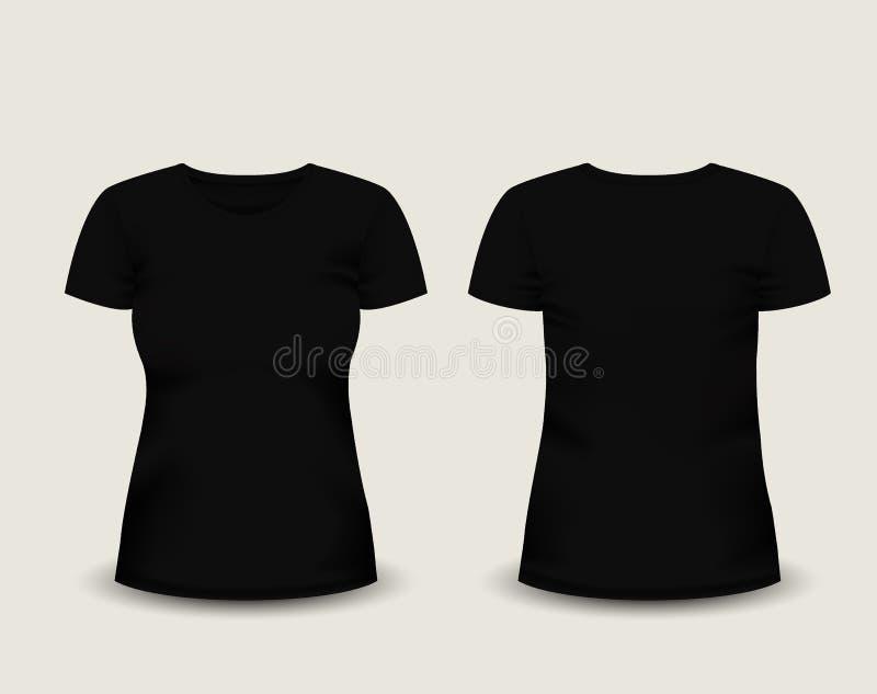 Zwarte de t-shirt korte koker van vrouwen in voor en achtermeningen Vector Malplaatje Volledig editable met de hand gemaakt netwe vector illustratie