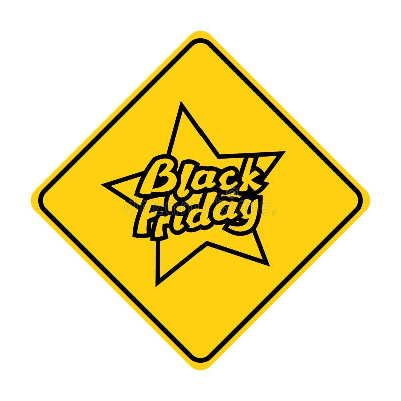 Zwarte de verkeersteken gele vector van het vrijdagsilhouet royalty-vrije illustratie