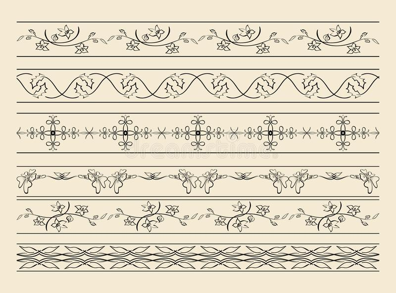 Zwarte decoratieve ornamenten - vectorreeks stock illustratie