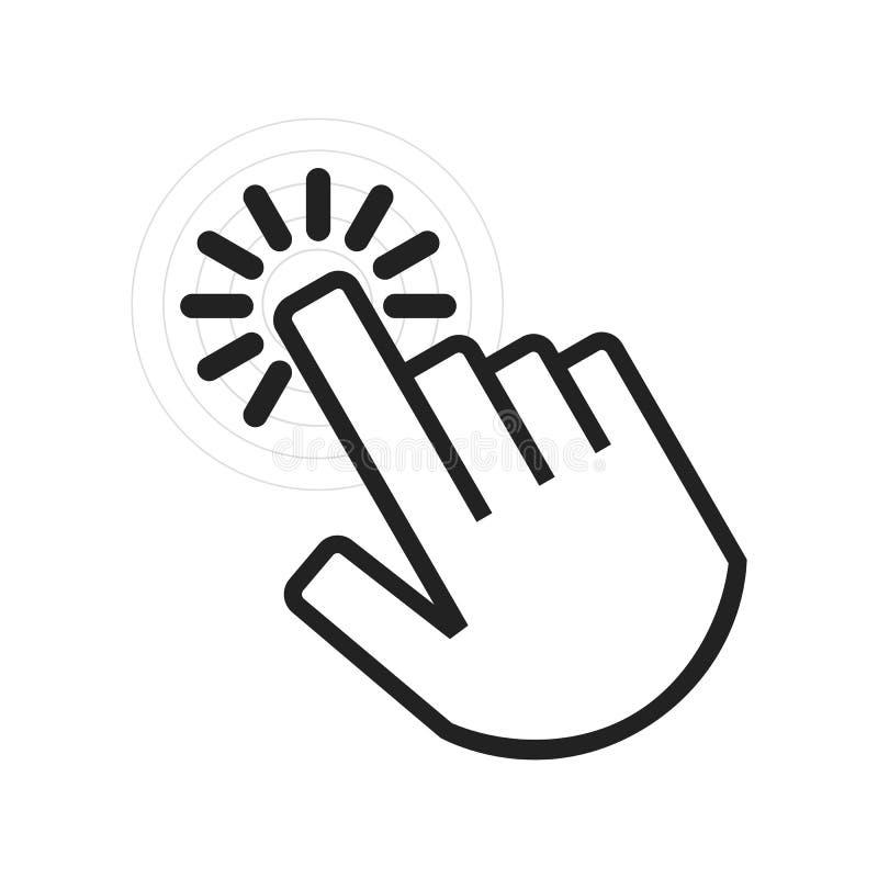 Zwarte dichte omhooggaand van actief hoekig klikkend handpictogram stock illustratie