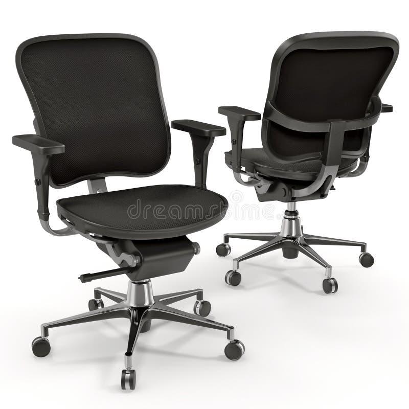 Zwarte die bureaustoel op witte 3D Illustratie wordt geïsoleerd stock illustratie
