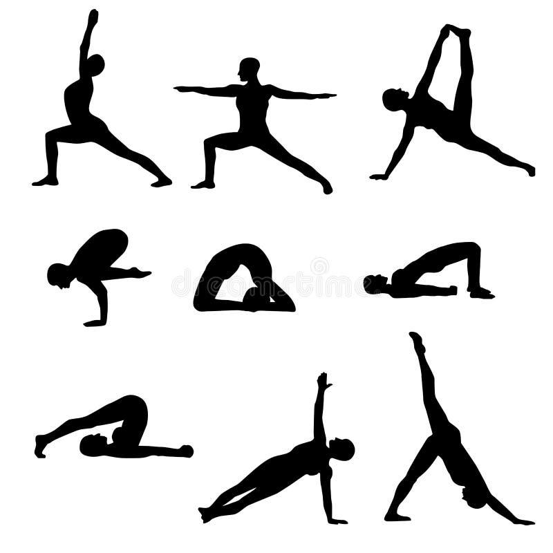 Zwarte die de silhouettenposities van yogaasanas op een witte achtergrond worden geïsoleerd vector illustratie