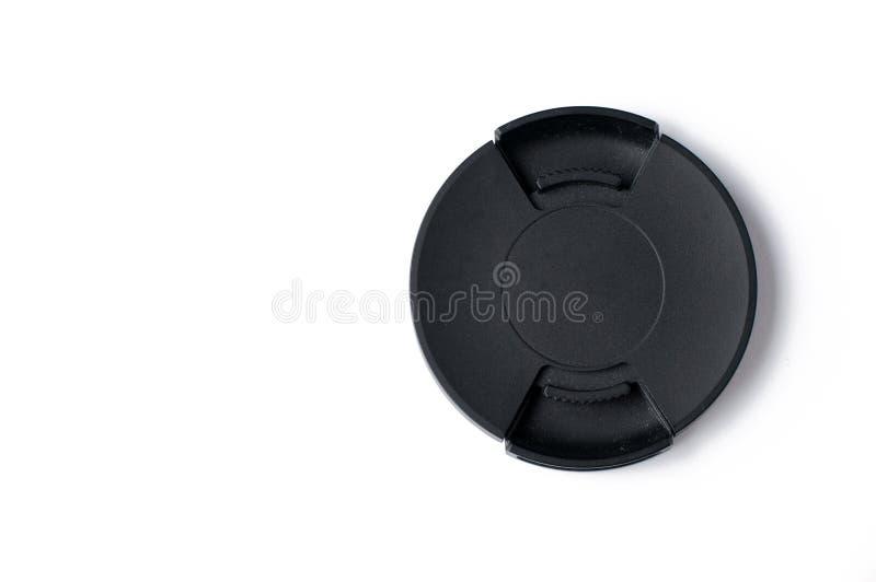 Zwarte die dekking voor cameralens op witte achtergrond, exemplaarruimte wordt geïsoleerd stock fotografie