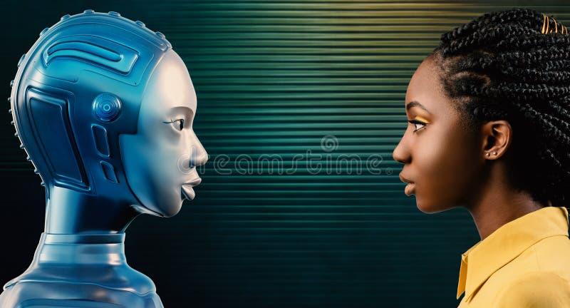 Zwarte die haar robotavatar bekijken stock illustratie