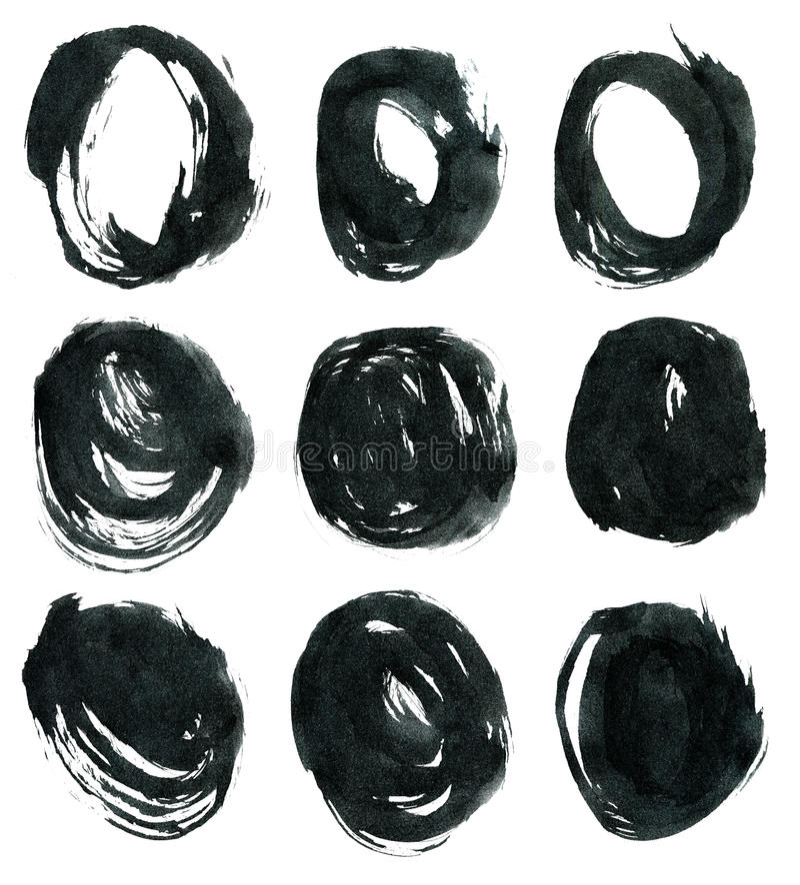 Zwarte die inkt om vormen op wit worden geïsoleerd stock illustratie